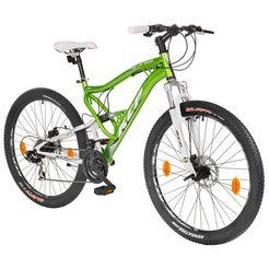 kcp mountainbike »attack groen, 70 cm (27,5 inch)«, 27,5 inch, 21 versnellingen, schijfremmen groen