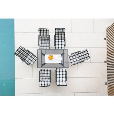 MERXX Tuinmeubelset Montreal, 6 klapstoelen, tafel 150x90 cm, aluminium, antraciet