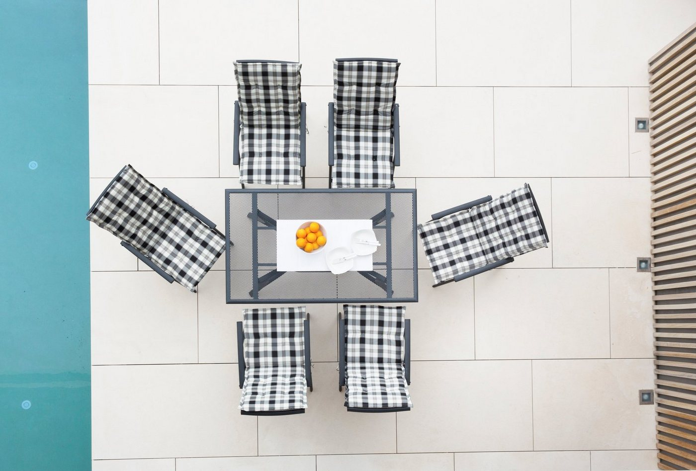Tuinmeubelset Montreal, 6 klapstoelen, tafel 150x90 cm, aluminium, antraciet