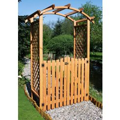promadino houten prieelboog »pergola diana«, bxdxh: 132x70x206 cm, met deuren bruin
