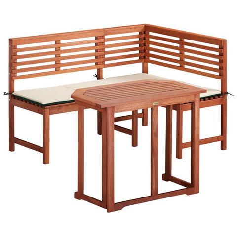 Tuinmeubelset , 2-dlg., hoekbank, tafel 90x60 cm, eucalyptushout, bruin