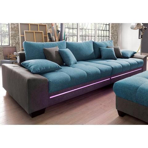woonkamer extra groot bankstel blauw Megabank met verlichting naar keuze met geluidssysteem 14
