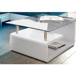 paroli salontafel met glasplaat wit