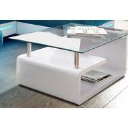 salontafel met glasplaat wit