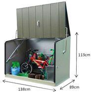 overkapping voor fietsen-kliko`s »stowaway«, voor 2x240 l, staal, bxdxh: 138x89x113 cm grijs