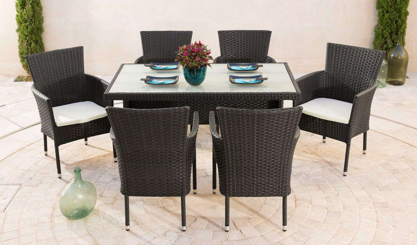 Tuinmeubelset Trentino, 6 stoelen, tafel 140x80 cm, poly-rotan, bruin