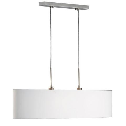 Hanglamp Honsel Leuchten mat nikkelkleur stoffen kap in wit 840705