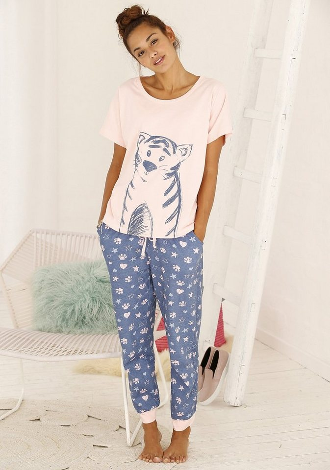 VIVANCE DREAMS Pyjama met tijgerprint