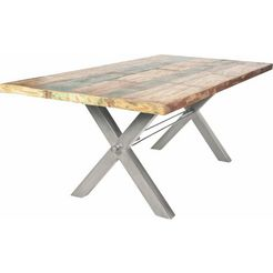sit eettafel »tops«, van gerecycled, gebruikt hout zilver