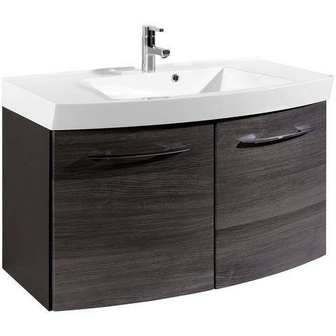 Wastafel »Florida 100 gewelfd« grijze badkamer onderkast 112