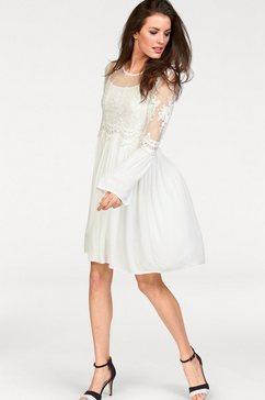 aniston casual kanten jurk in romantische-look (set, 2-delig) wit