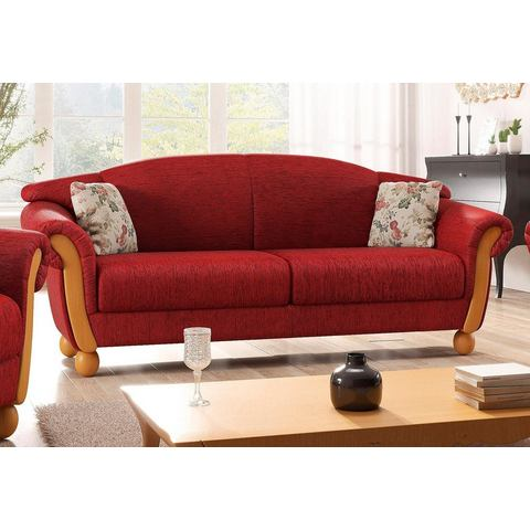woonkamer driepersoons bankstel rood chenille HOME AFFAIRE Milano