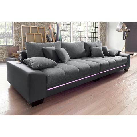 woonkamer extra groot bankstel grijs Megabank met verlichting naar keuze met geluidssysteem 5