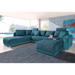 places of style zithoek met binnenvering, slaapfunctie en bedkist, inclusief 2 hoofdsteunen, vrij plaatsbaar groen