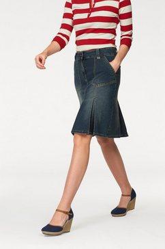 cheer jeans-rok met stolpplooien blauw