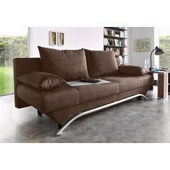 inosign bedbank met slaapfunctie en bedkist, incl. losse sier- en rugkussens, vrij plaatsbaar bruin