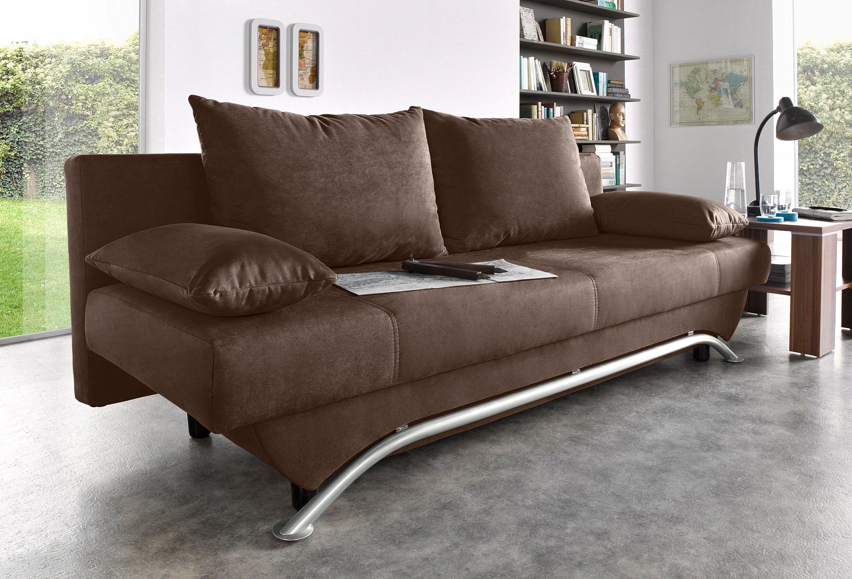 INOSIGN Bedbank met slaapfunctie en bedkist, incl. losse sier- en rugkussens, vrij plaatsbaar - verschillende betaalmethodes