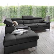 exxpo - sofa fashion hoekbank met verstelbare hoofdsteun en verstelbare rugleuning, naar keuze met slaapfunctie en bedkist zwart