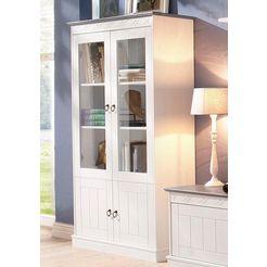 home affaire vitrinekast »indra«, hoogte 145 cm wit