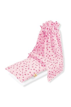pinolino poppenbeddengoed beddengoed met hemel voor poppenwieg, hartjes gemaakt in europa (set, 4-delig) roze