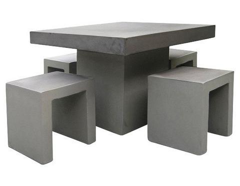 BEST Tuinmeubelset Rockall, 4 hockers, tafel 100x100 cm, beton-glasvezel, grijs