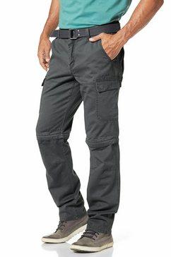 man's world cargobroek met zip-offfunctie (set, met riem) grijs