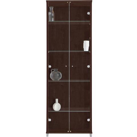 kast 2-deurs met 4 glasplateaus wengékleur vitrinekast 198