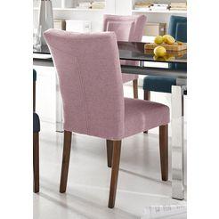 home affaire stoel zena frame van massief hout (set, 2 stuks) roze