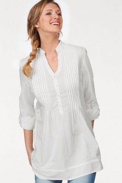 aniston casual lange blouse met decoratieve biezenverwerking wit