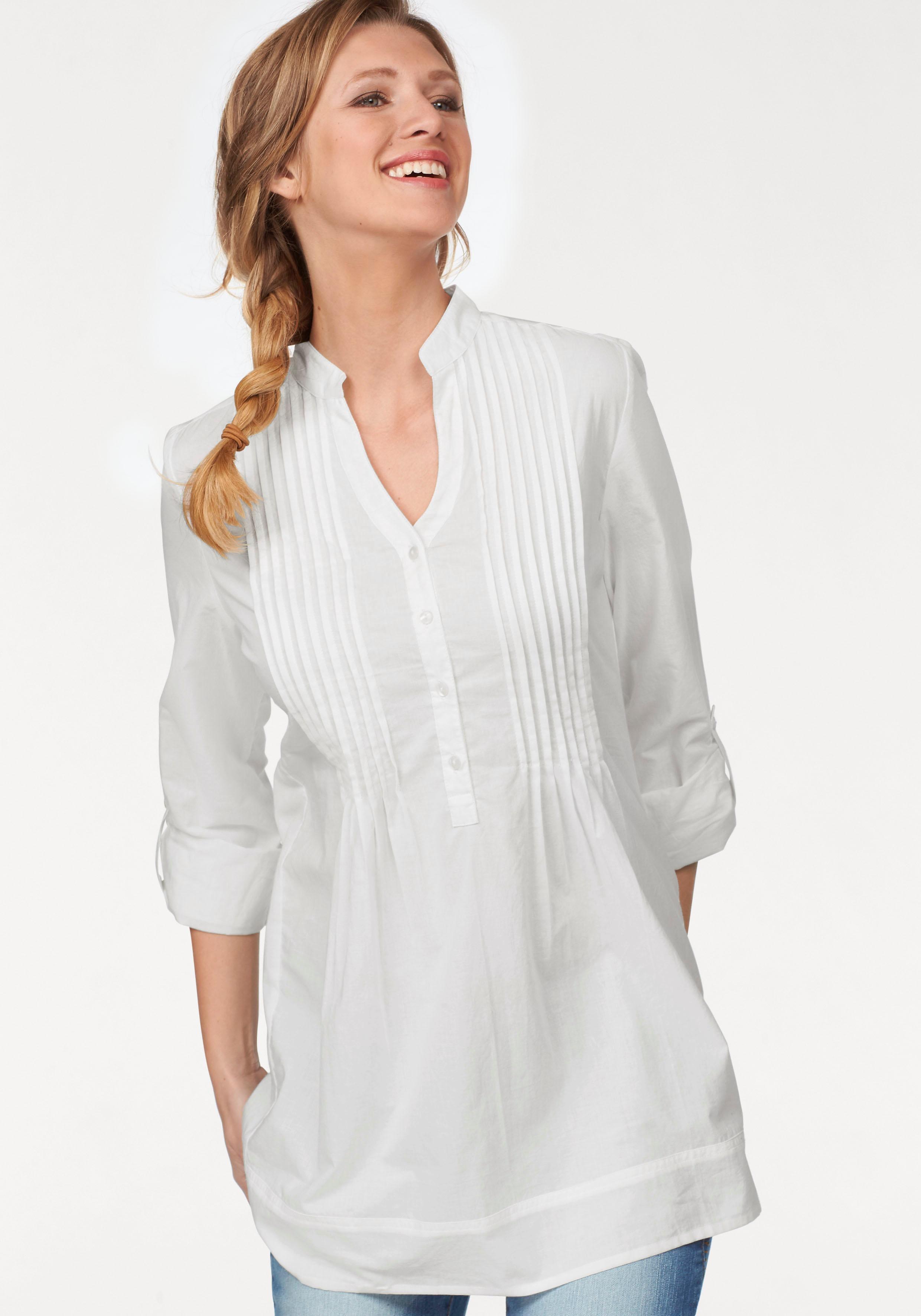 Aniston CASUAL Lange blouse met decoratieve biezenverwerking voordelig en veilig online kopen