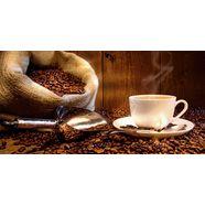 home affaire glazen artprint »s. cunningham: koffiekopje en linnen zak met koffiebonen«, 60x30 cm bruin