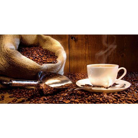 HOME AFFAIRE glazen artprint S. Cunningham: koffiekopje en linnen zak met koffiebonen, 60x30 cm