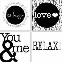home affaire artprints op linnen »jule: be happy, love, you  i, relax«, 4x 30x30 cm zwart