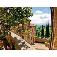 home affaire glazen artprint »banepetkovic: rozen in san gimignano, met toscaans landschap«, 80x60 cm groen