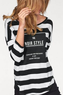 tamaris shirt met driekwartmouwen zwart