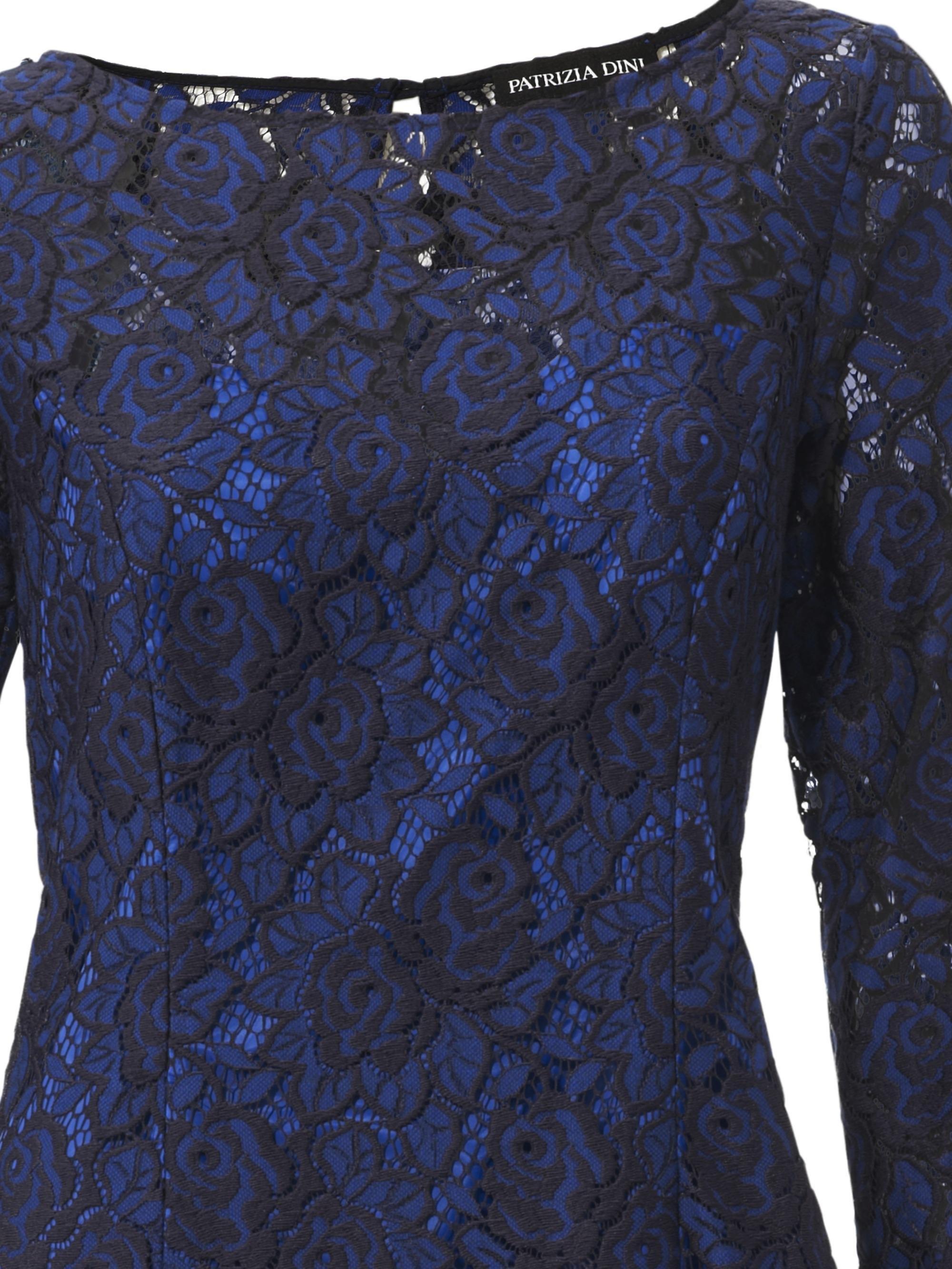 Blauwe avondjurk met kant