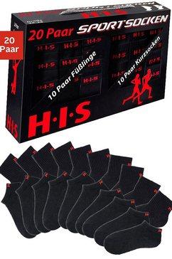 h.i.s sport-kousenvoetjes + korte sokken, 20 paar zwart