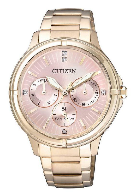 citizen multifunctioneel horloge met swarovski-kristallen, »fd2033-52w« goud