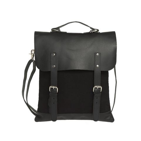 Enter rugzak, Messenger Tote Leather Top, black
