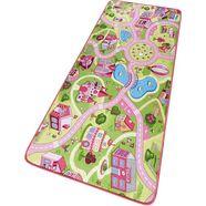 hanse home vloerkleed voor de kinderkamer sweettown kinderkleed met stratenmotief, korte pool roze