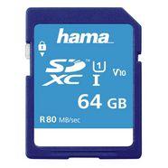 hama sdxc 64gb class 10 uhs-i 80mb-s blauw