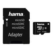 hama microsdxc 64gb class 10 uhs-i 80mb-s + adapter-foto zwart