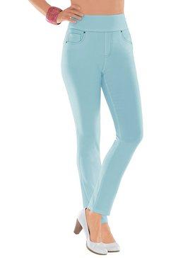 casual looks broek met hogere verstevigde band blauw