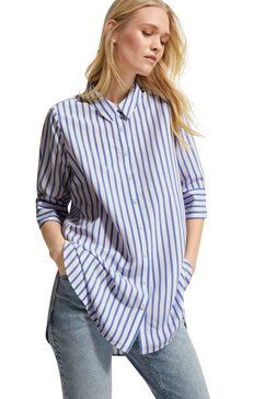 comma casual identity lange blouse in streepdessin van viscosemix wit