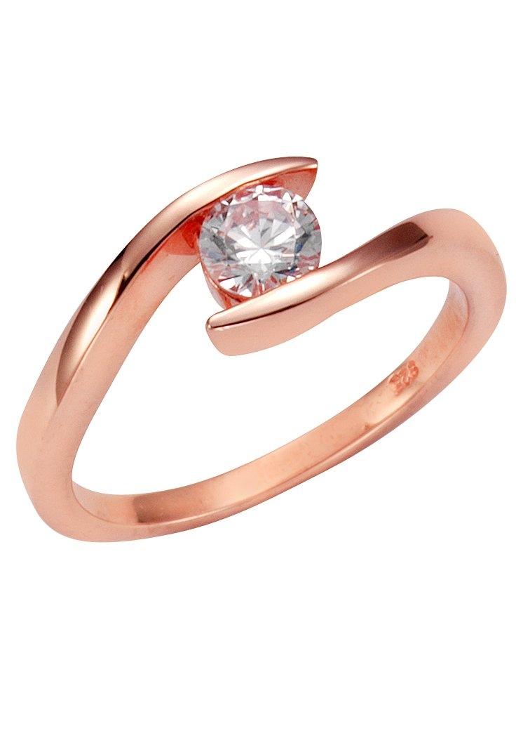Firetti zilveren ring Glanzend, rozeverguld, licht gebogen, open model met zirkoon bij OTTO online kopen