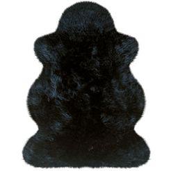 heitmann felle vachtvloerkleed lamsvacht gekleurd echte austral. lamsvacht, woonkamer zwart