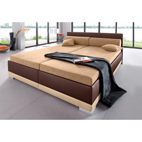 Bed imitatieleer in 4 verschillende uitvoeringen Made in Germany vast binnenveringsinterieur 5 zones bruin Maintal 390003