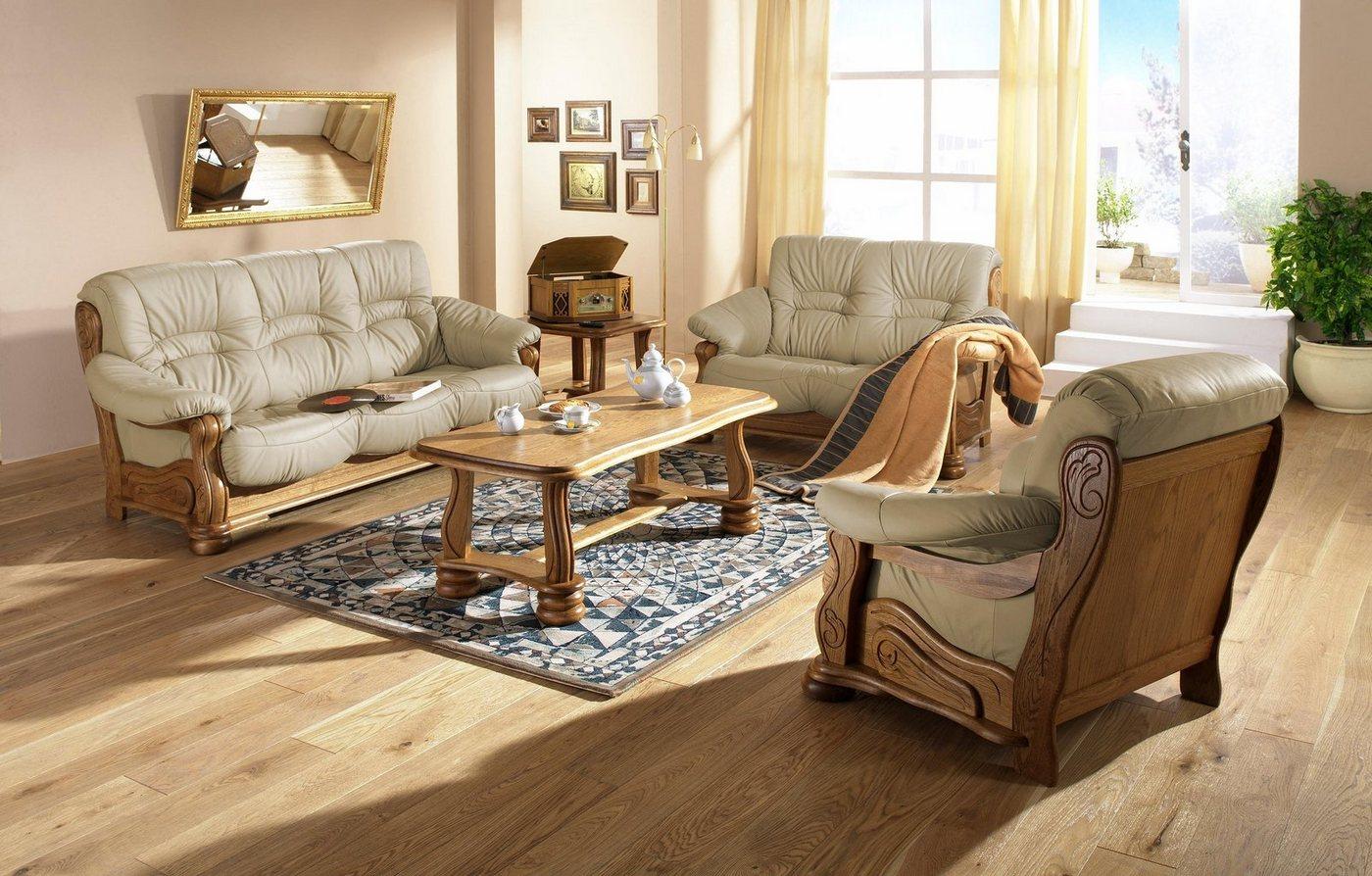MAX WINZER® zithoek Texas, met decoratief houten onderstel, 2-dlg.