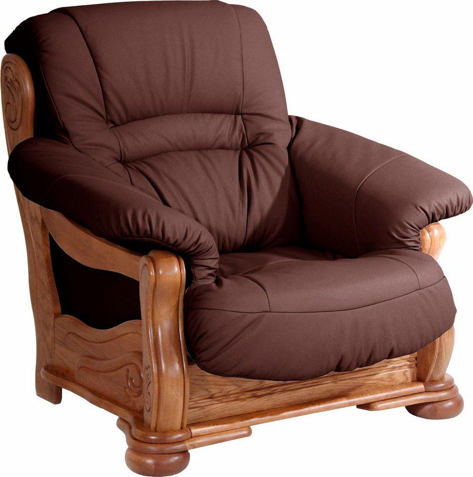 MAX WINZER® leesfauteuil Texas, met decoratief houten onderstel