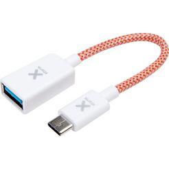 xtorm adapter »textiler adapter usb (buchse) - usb-c stecker« wit